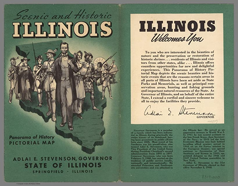 Map Poster - Covers: Scenic and historic Illinois : Panorama of history pictorial map - 24