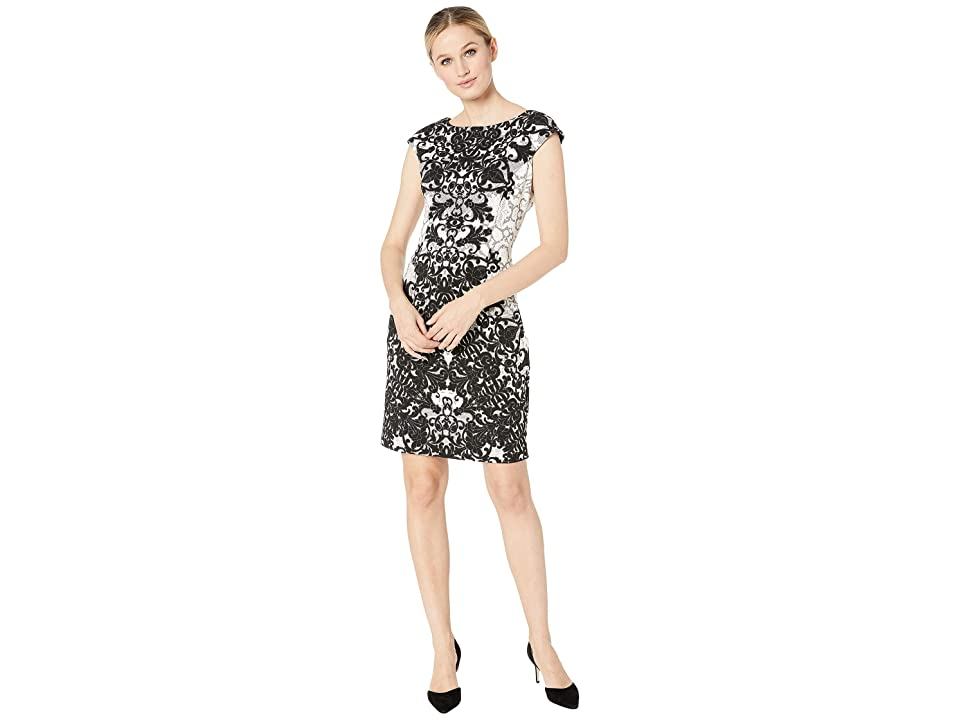 London Times Cap Sleeve Fit Dress (Soft White/Black) Women