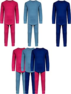 Snoozzz'n Girls Long Underwear Cotton Stretch Base Layer Sets/Long Sleeve Top - Long Tights - 6 Piece Mix & Match / 3 Sets