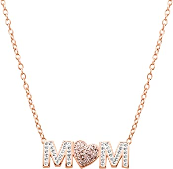 Crystaluxe Mom Pink Heart Necklace with Swarovski Crystals