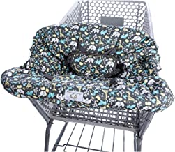 2-in-1 Shopping Cart Cover and High Chair Cover, Universal Fit, Ultra Plush, 100 Percent Cotton Upper, Full Safety Harness, Machine Washable for Baby, Toddler, Boy or Girl (Grey)