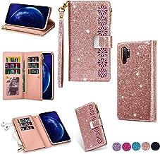 Miagon Cerniera Luccichio Portafoglio Custodia per Samsung Galaxy Note 10 Plus,Cover Bling Pelle Caso con 9 Porta Carte Fl...