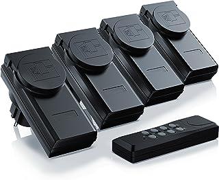 Arendo - enchufes inalámbricos con control remoto Juego 4 y