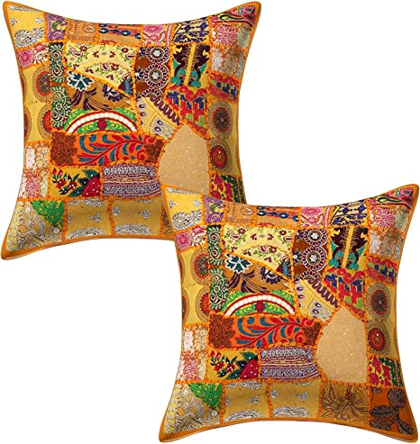 """Orange Patchwork Pillow Cusion Cover Indian Embroidered Sofa Cushions Throw 24/"""""""