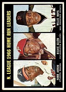 Baseball MLB 1967 Topps #244 Hank Aaron/Dick Allen/Willie Mays NL Home Run Leaders EX