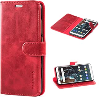 Mulbess Xiaomi Mi A2 Protective Cover, Magnetic Closure RFID Blocking Luxury Flip Folio Leather Wallet Phone Case with Card Slots and Kickstand for Xiaomi Mi A2, Wine Red