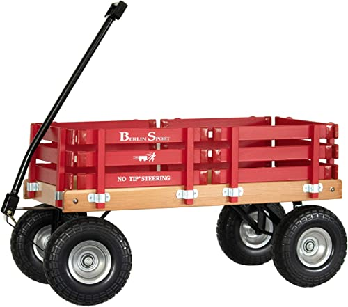 """Berlin Flyer Sport Wagon - Model F410 - Amish Made in Ohio, USA - 10"""" No-Flat Tires (Red)"""