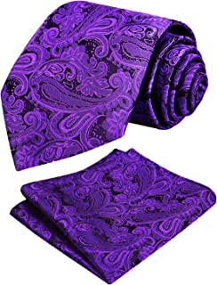Alizeal Handmade Paisley Floral Tie with Pocket Square Gift Set