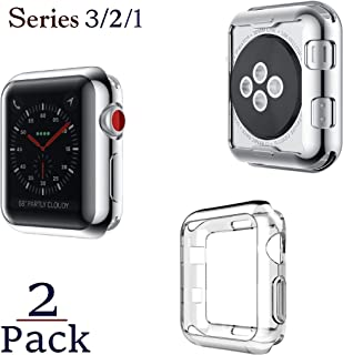 Josi Minea x2 Pcs Protective Snap-On Shell Bumper Case - Anti-Scratch & Shockproof Ultra Thin TPU Silicone HD Cover Shield Guard Compatible with Apple Watch Series 3, 2 & 1 [ 42mm - 2 Pack ] - Clear