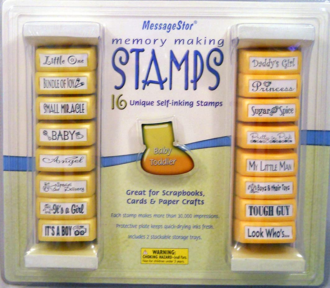 16 Unique Self-Inking Stamps Memory Making Baby and Toddler by MessageStor (1 Set)