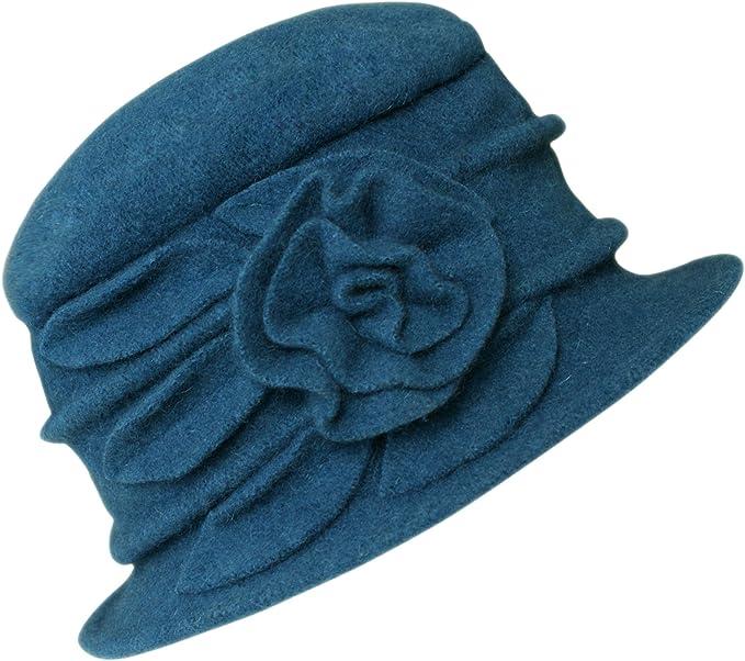 1920s Accessories: Feather Boas, Cigarette Holders, Flasks Urban GoCo Womens Floral Trimmed Wool Blend Cloche Winter Hat £14.68 AT vintagedancer.com