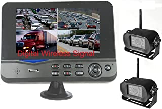 """4Ucam TWO Digital Wireless Camera + 7"""" Monitor Quad-view Split screen for Bus, RV, Trailer, Motor Home, 5th Wheels and Trucks Backup or Rear View"""
