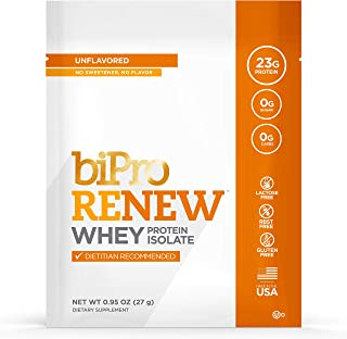 BiPro Renew to-Go 100% Whey Isolate Protein Powder, Unflavored, 12 Single-Serve Packets - Dietician Recommended, Sugar Free, Lactose Free, Gluten Free, Hormone Free