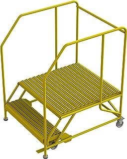 Tri-Arc WLWP123636SL-Y 2-Step Forward Descent Mobile Steel Work Platform with Handrails, Step Lock, 36
