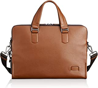 Harrison Seneca Leather Laptop Slim Brief Briefcase - 15 Inch Computer Backpack for Men and Women - Umber Pebbled