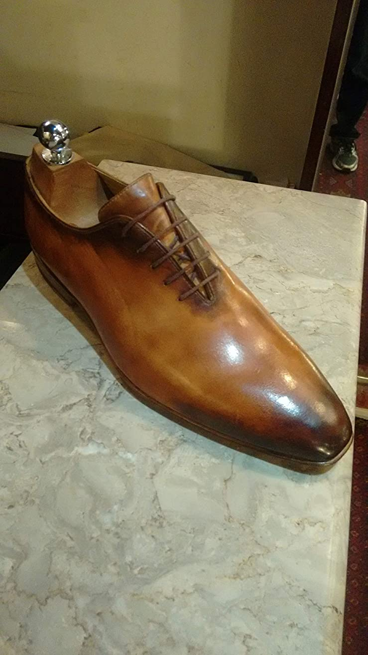 Handmade Patina Whole Cut Oxfords For Men Custom Made Shoes for Men