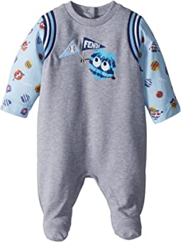 Fendi Kids Footie w/ Fur Monster Sleeves & Graphic (Infant)