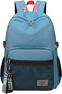 Casual Style Lightweight Canvas Backpack School Bag Travel Daypack