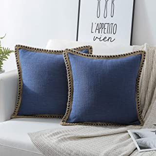 Phantoscope Pack of 2 Farmhouse Decorative Throw Pillow Covers Burlap Linen Trimmed Tailored Edges Navy Blue 20 x 20 inches, 50 x 50 cm
