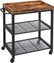 INDIAN DECOR. 45124 Kitchen Serving Cart, Universal Casters with Brakes, Leveling Feet, Kitchen Shelf with Mesh Shelves, Rustic Brown - Made in India