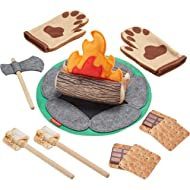 Fisher-Price S'More Fun Campfire - 18-Piece Pretend Camping Play Set with Real Wood for...