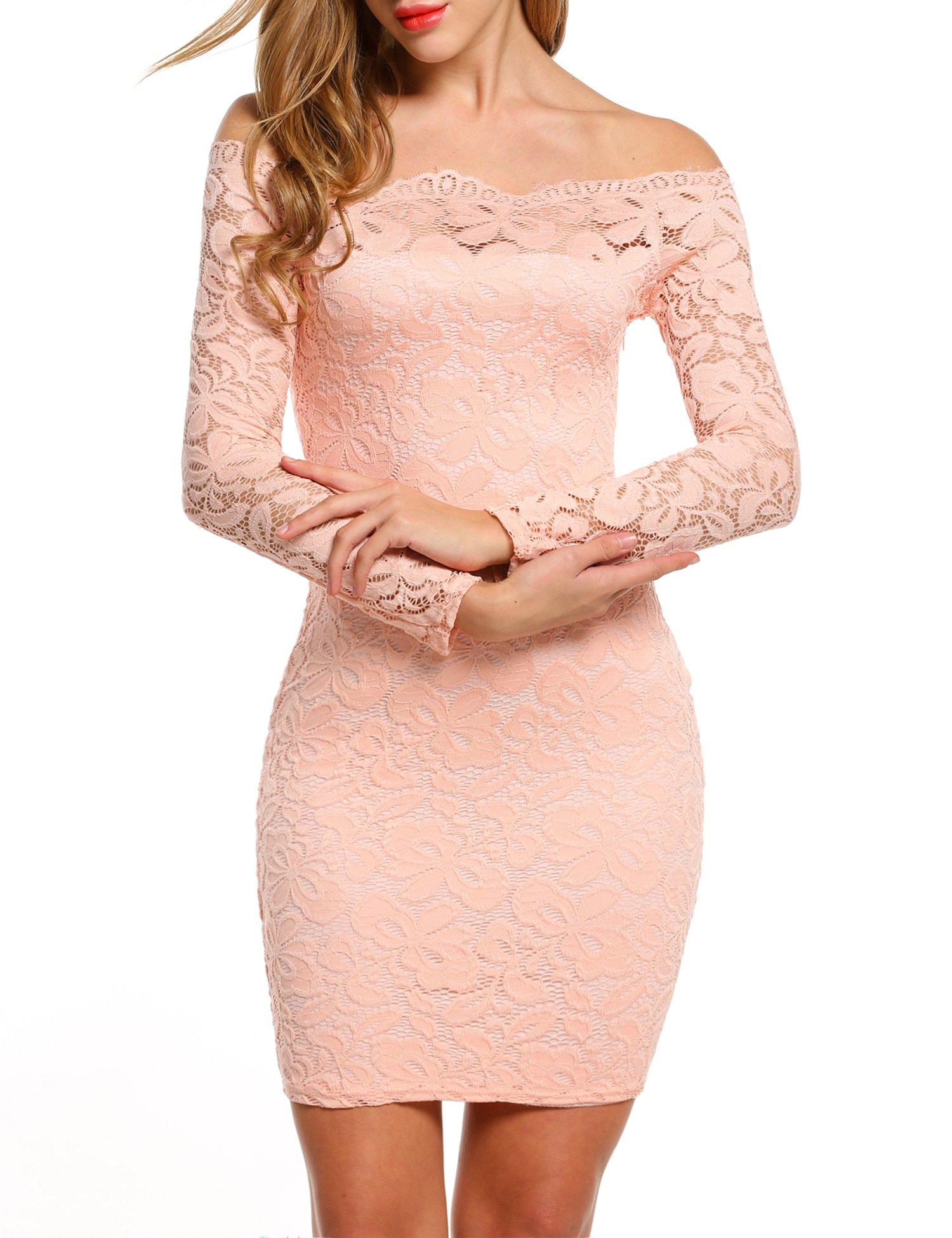 Available at Amazon: ACEVOG Women Off Shoulder Floral Lace Party Dress