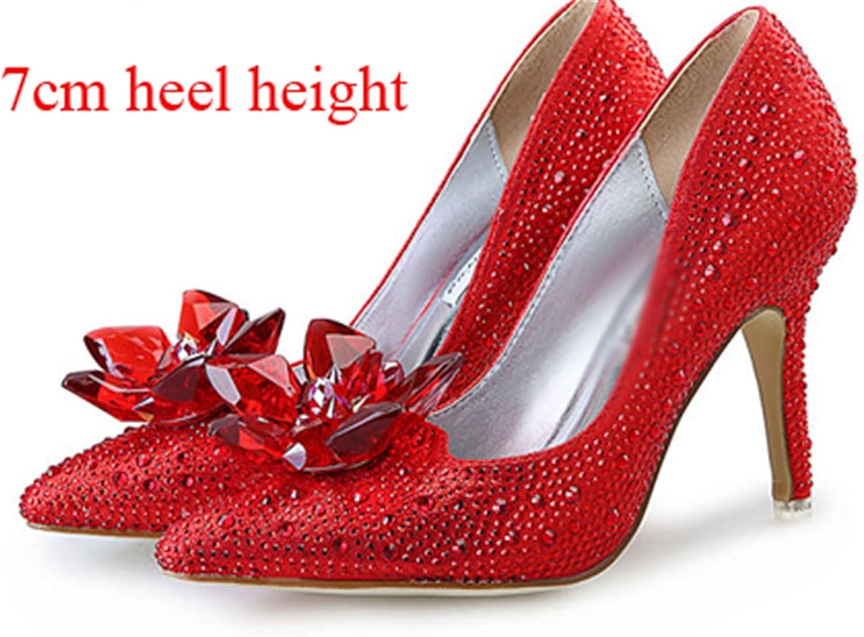Carlos Foushee New Glitter Rhinestone High Heels Cinderella shoes Women Pumps Pointed Toe Woman Crystal Wedding shoes
