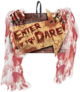 amscan Enter If You Dare Hanging Sign with Bloody Gauze, Multicolour, 1 piece (241203)