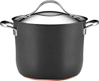 Anolon 82520 Nouvelle Copper Hard Anodized Nonstick Stock Pot/Stockpot with Lid - 8 Quart, Gray