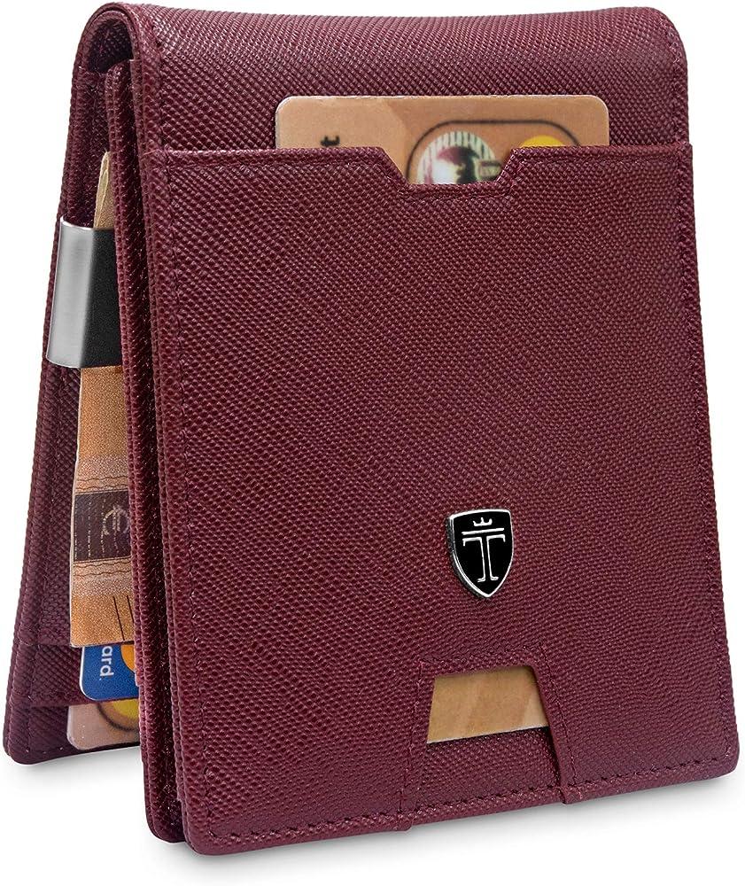 Travando, portafoglio sottile per uomo, protezione rfid, porta carte di credito, in similpelle