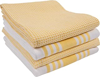 KAF Home Set of 4 Centerband and Waffle Flat Kitchen Towels   18 x 28 Inch Absorbent, Durable, Soft, and Beautiful Kitchen Towels   Perfect for Messes and Drying Dishes (Yellow)