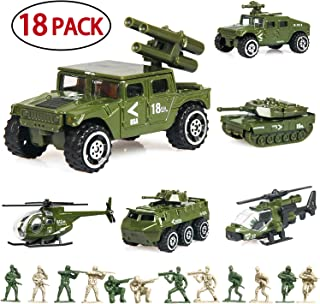 18 Pack Die-cast Military Vehicles Sets,6 Pack Assorted Alloy Metal Army Models Car Toys and 12 Pack Soldier Army Men, Mini Army Toy Tank,Jeep,Panzer,Anti-Air Vehicle,Helicopter Playset for Kids Boys