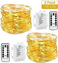 2Pcs 10m Guirnalda luces, AGM 100 LED Luces Cable de Cobre, Cadena de Luces 8 modos de Iluminación, IP65 Impermeable Control Remoto Decoración de Casa, Fiesta, Navidad
