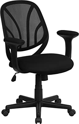 Flash Furniture Y-GO Office Chair Mid-Back Black Mesh Swivel Task Office Chair with Arms