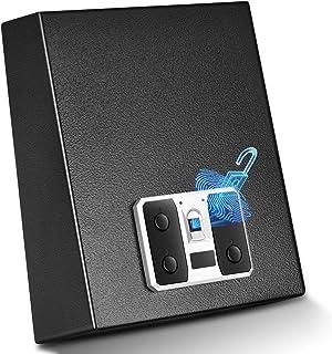 YUEMA Biometric Gun Safe, Gun Safes for Pistols, Smart Quick Fingerprint Scanner, Easy Access Key Lock, Gun Case with Auto-Open Lid and Wall Mount Bracket, Portable Handgun Safe for Money, Jewelry