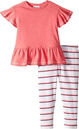 Gather Hem Top with Stripe Leggings Set (Infant)