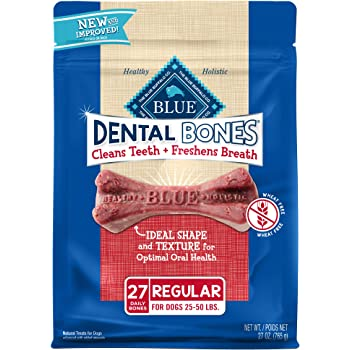 Blue Buffalo Dental Bones Natural Adult Dental Chew Dog Treats Regular 27oz bag Value Pack