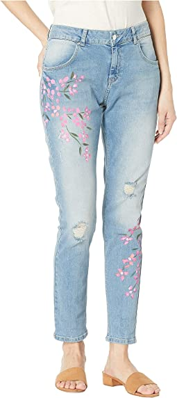 Painted Floral Denim Skimmer Leggings
