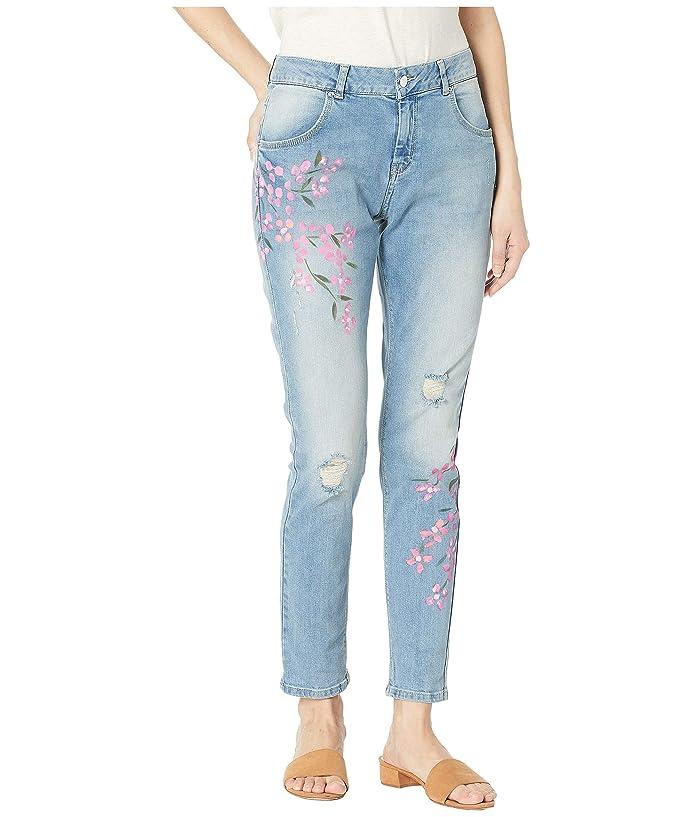 HUE Painted Floral Denim Skimmer Leggings (Light Wash) Women
