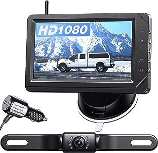 $109 » eRapta ERT03 1080P Wireless Backup Camera with Monitor for Car Pickup Truck Sedans Back Up Reversing Rear Front View Parki...