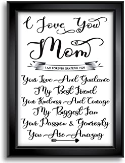 Gift for Mom from Daughter or Son - Perfect Mother's Day - Christmas - Or Birthday Present | 8x10 Unframed Print | I Love You Mom - I Am Forever Grateful