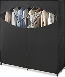 "Whitmor Portable Wardrobe Clothes Storage Organizer Closet with Hanging Rack - Extra Wide -Black Color - No-tool Assembly - Extra Strong and Durable - 60""L x 19.5""W x 64"""