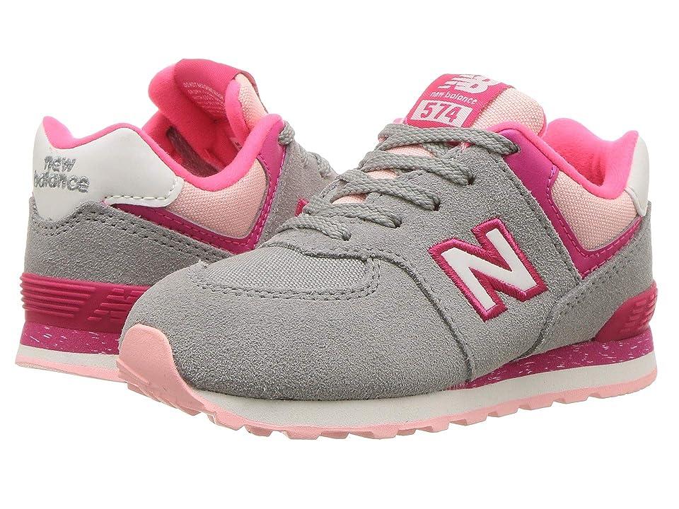 New Balance Kids IC574v1 (Infant/Toddler) (Grey/Pink) Girls Shoes