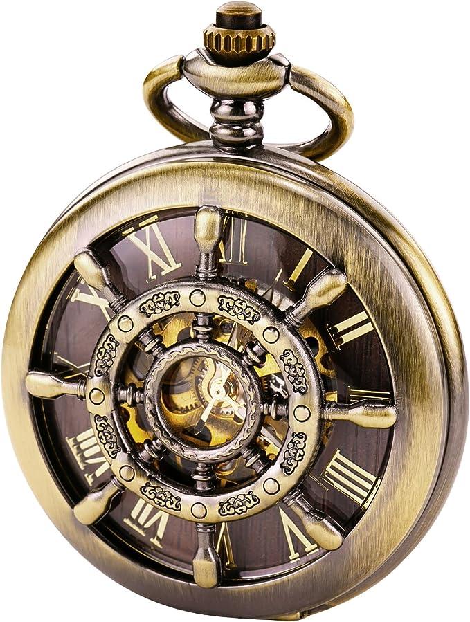 Men's Steampunk Accessories: Googles, Cane, Gloves TREEWETO Bronze Double Cover Roman Numerals Dial Skeleton Mens Women Pocket Watch  AT vintagedancer.com
