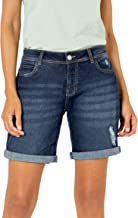 Sublevel Damen Stretch Jeans Bermuda-Shorts im Used-Look