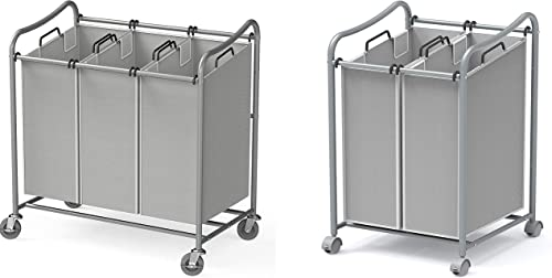 new arrival Simple high quality Houseware Heavy-Duty 3-Bag + 2-Bag Laundry 2021 Sorter Cart, Silver online sale