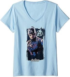 Femme Marvel Avengers Endgame Captain America Logo Poster T-Shirt avec Col en V