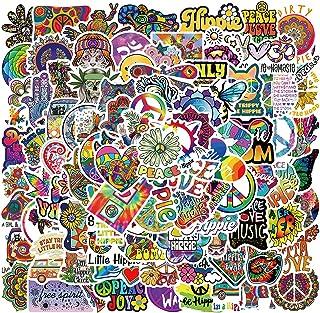 100PCS Hippie Stickers,Trippy Stickers Waterproof Vinyl Stickers for Car,Groovy Stickers Laptop Bumper Hard hat Phone Skat...