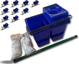 Kit lave sol pro double compartiment | Lot de 10 | Nettoyage des sols | Serpillère à franges x 2 | Manche télescopique | S...