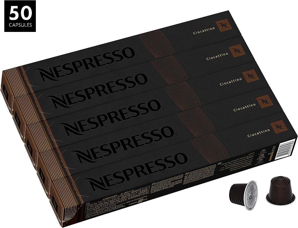 Nespresso Ciocattino OriginalLine Capsules 50 Count Espresso Pods Medium Roast Intensity 6 Blend Central South American Arabica Coffee Flavors